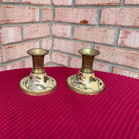 Pair of Vintage Small Holiday Candlesticks